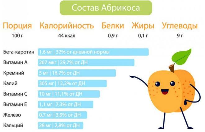Состав плода абрикоса